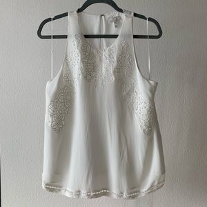 Ivory Joie Silk Embroidery Cut-out Sleeveless Top